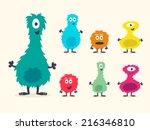 cute furry creature set  | Shutterstock .eps vector #216346810