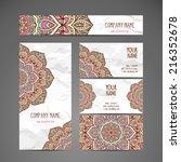 vintage business card. round... | Shutterstock .eps vector #216352678