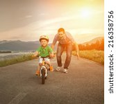 happiness father and son on the ... | Shutterstock . vector #216358756