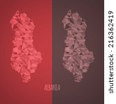 low poly albania map with... | Shutterstock .eps vector #216362419