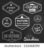 set of chalk vintage adventure... | Shutterstock .eps vector #216368290