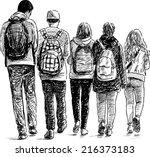 school students | Shutterstock .eps vector #216373183