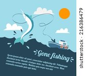 fishing poster with boat and... | Shutterstock .eps vector #216386479