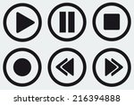 black media player buttons... | Shutterstock .eps vector #216394888