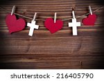 Hearts And Crosses Hanging On A ...