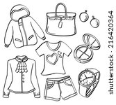 ladies clothing and accessories | Shutterstock .eps vector #216420364