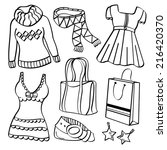 ladies clothing and accessories | Shutterstock .eps vector #216420370