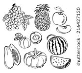 fruit set | Shutterstock .eps vector #216427120