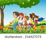 illustration of a happy family...   Shutterstock . vector #216427273