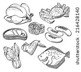 fresh food collection | Shutterstock .eps vector #216428140