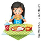 illustration of a hungry girl... | Shutterstock . vector #216428884
