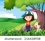 illustration of a young girl... | Shutterstock . vector #216428938