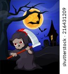 funny cartoon grim reaper with... | Shutterstock .eps vector #216431209