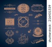 vintage style wedding monogram...   Shutterstock .eps vector #216431539