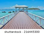 wood waterfront pavilion  at...   Shutterstock . vector #216445300