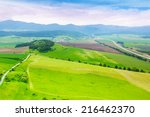 Panorama of different fields strips from above in Slovakia