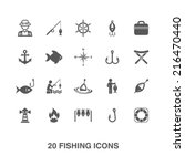 fishing icons set.