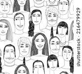 cartoon faces crowd doodle hand ... | Shutterstock .eps vector #216479929