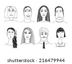 hand drawn cartoon faces crowd... | Shutterstock .eps vector #216479944