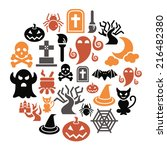 halloween icons in circle shape | Shutterstock .eps vector #216482380