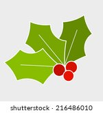 Holly berry, Christmas symbol. Vector illustration - stock vector