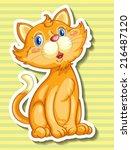 Illustration Of A Closeup Cat...