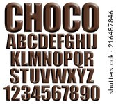 3d chocolate alphabets on... | Shutterstock . vector #216487846