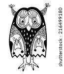 original artwork of owl  ink...   Shutterstock . vector #216499180