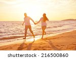 happy young romantic couple in... | Shutterstock . vector #216500860