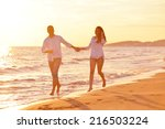 happy young romantic couple in... | Shutterstock . vector #216503224
