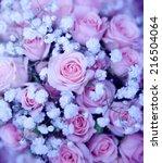 wedding bouquet with rose bush... | Shutterstock . vector #216504064
