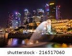 singapore sep 04  the merlion... | Shutterstock . vector #216517060