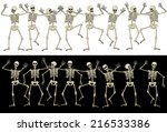sixteen fun skeletons.  eps8.... | Shutterstock .eps vector #216533386