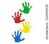 hand prints isolated on white... | Shutterstock .eps vector #216542920