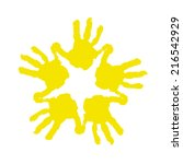hand prints isolated on white...   Shutterstock .eps vector #216542929