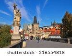 prague czech republic  charles... | Shutterstock . vector #216554818