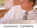 close up of pensive businessman ... | Shutterstock . vector #216568606