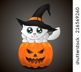 kawaii cat in a witch hat. cute ... | Shutterstock .eps vector #216569260