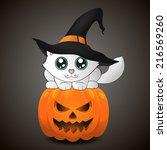 cute kitten in a witch hat... | Shutterstock .eps vector #216569260