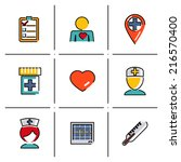 isolated line icons set medical ... | Shutterstock .eps vector #216570400