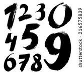 black handwritten numbers on... | Shutterstock .eps vector #216575839