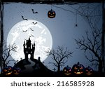 halloween night background with ...   Shutterstock . vector #216585928