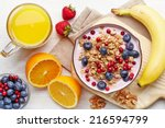 healthy breakfast. bowl of... | Shutterstock . vector #216594799