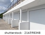 swanage beach huts  dorset  uk | Shutterstock . vector #216598348
