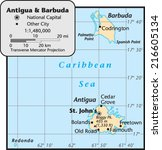 antigua and barbuda country map | Shutterstock .eps vector #216605134