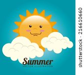summer design over cloudscape... | Shutterstock .eps vector #216610660