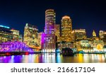 Stock photo the boston skyline and fort point channel at night from fan pier park boston massachusetts 216617104