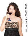 Small photo of Beautiful young woman drinking alcohol tipple on white background
