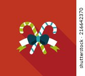christmas candy cane flat icon...