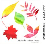 Vector Watercolor Autumn Leave...